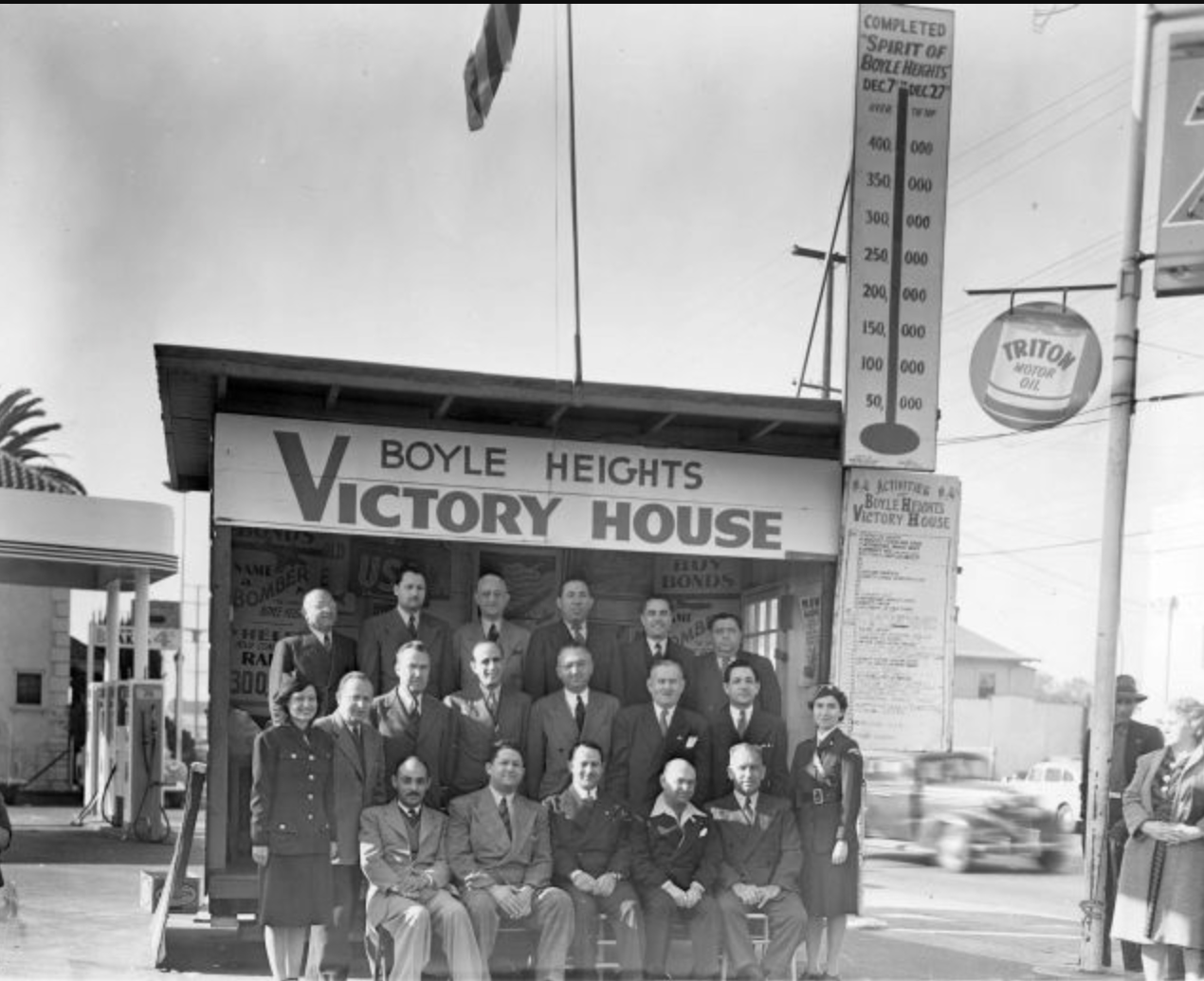 """The Boyle Heights Victory House at the corner of Brooklyn and Soto where various neighborhood organizations raised money to support the American war effort by selling war bonds. In 1942, the residents of Boyle Heights purchased so many war bonds that the American military named a plane in their honor, calling it """"The Spirit of Boyle Heights"""". Photo courtesy of Western States Jewish History/UCLA Alan D. Leve Center for Jewish Studies"""