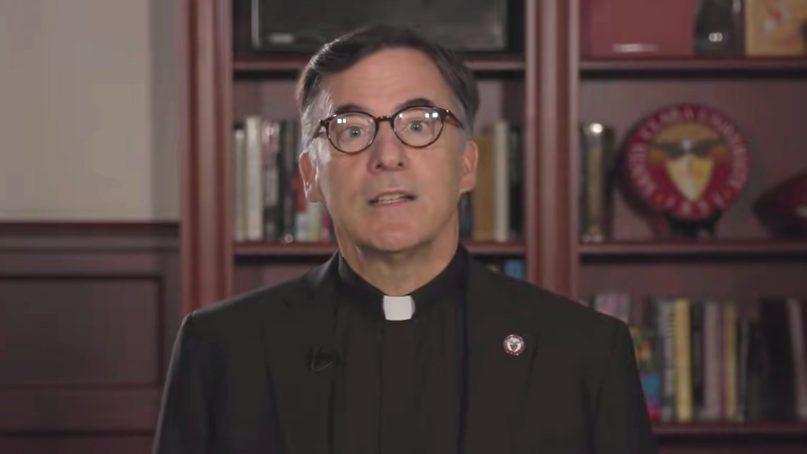 The Rev. Kevin O'Brien speaks in a video for Santa Clara University in 2019. Video screengrab