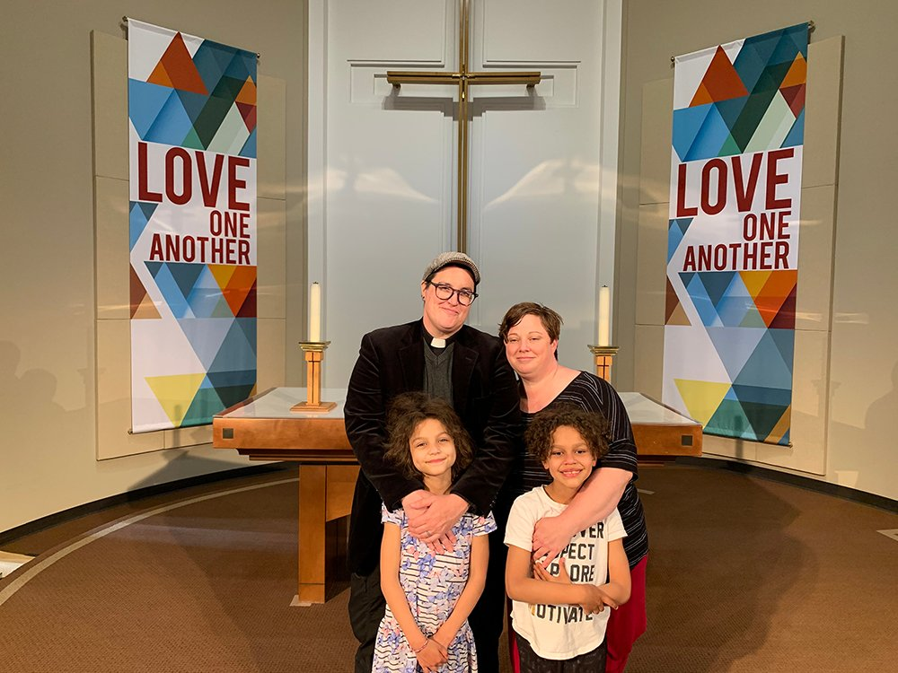 Bishop-elect Megan Rohrer, left, and their family. Photo by Esperanza Foft