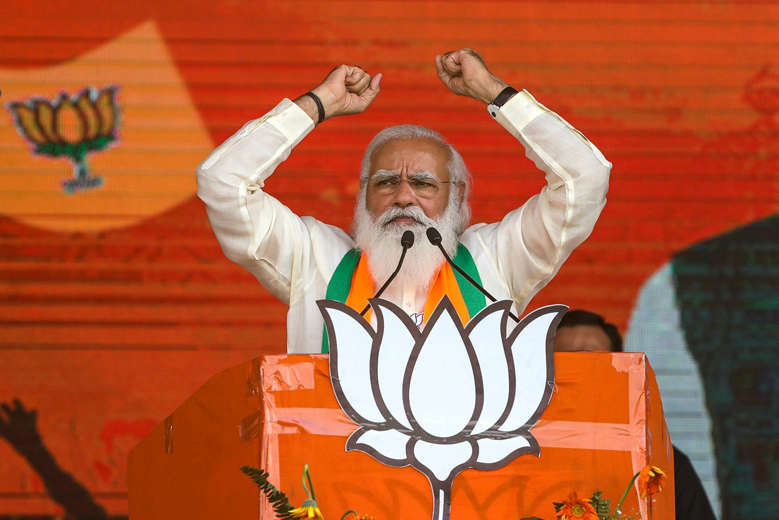 In this March 7, 2021, file photo, Indian Prime Minister Narendra Modi addresses a public rally ahead of West Bengal state elections in Kolkata, India. (AP Photo/Bikas Das, File)