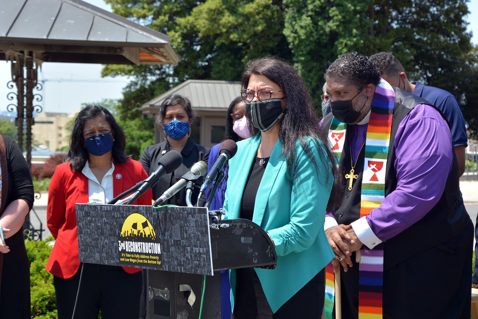 """Rep. Rashida Tlaib, of Michigan, speaks during the announcement of a new resolution titled """"Third Reconstruction: Fully Addressing Poverty and Low Wages from the Bottom Up,"""" Thursday, May 20, 2021, on Capitol Hill in Washington. RNS photo by Jack Jenkins"""