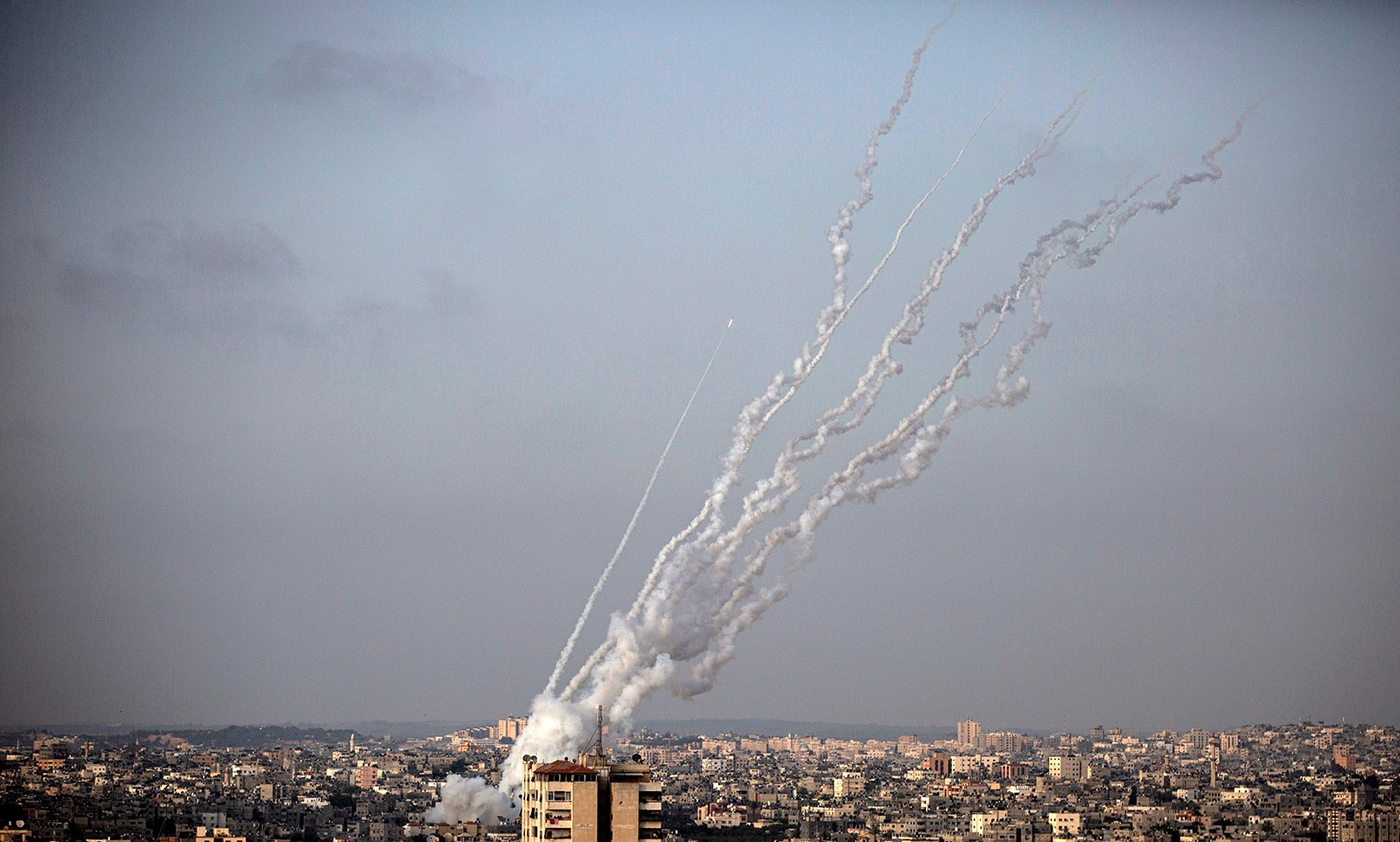 Rockets are launched from the Gaza Strip into Israel on Monday, May 10, 2021. (AP Photo / Khalil Hamra)