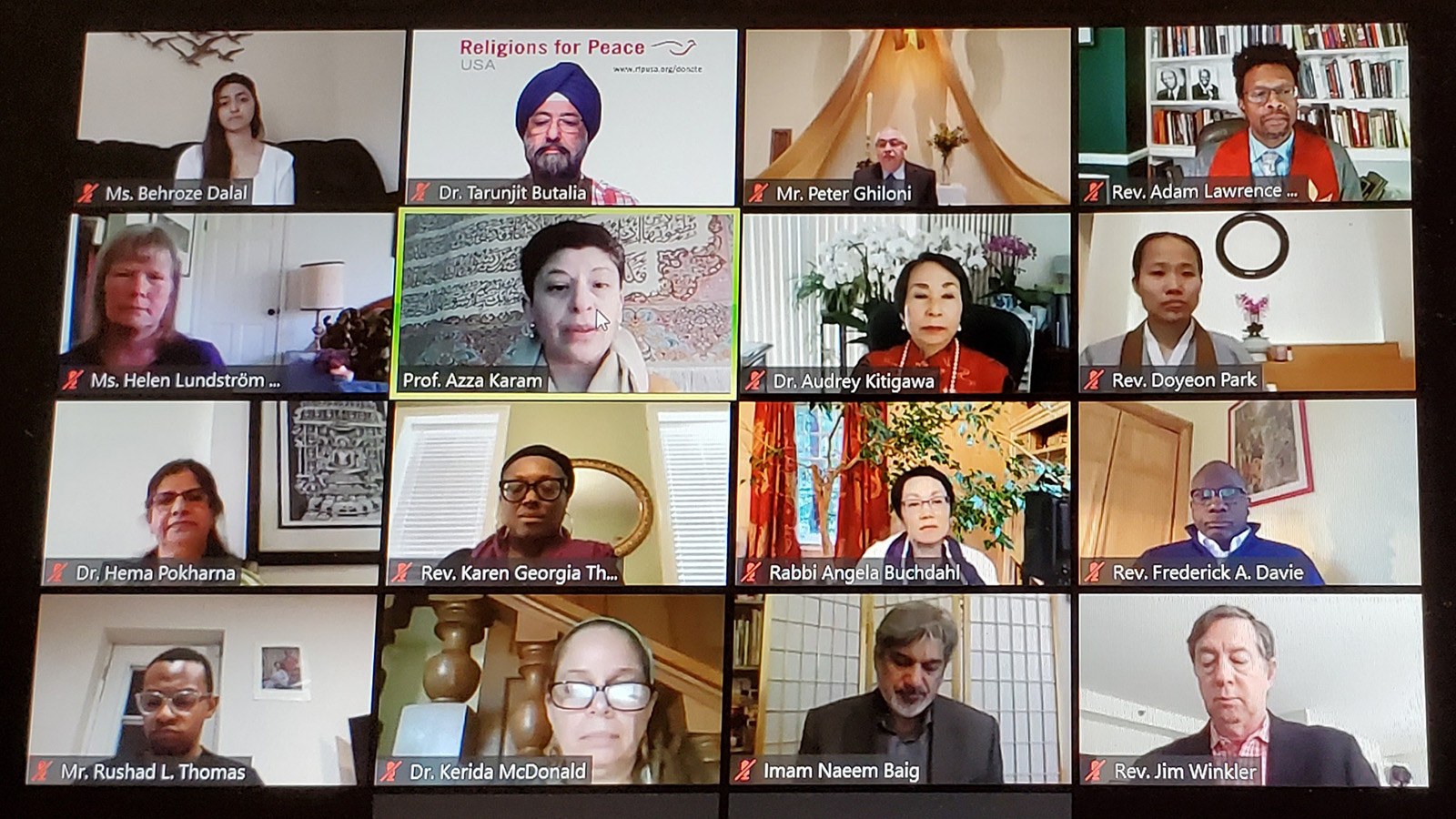 People participate in a virtual National Day of Prayer event in 2020 organzied by Religions for Peace USA. Video screengrab