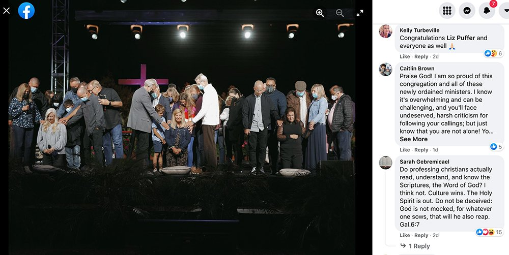 People share a variety of reactions with a Saddleback Church post and photo on Facebook about ordaining three women over the weekend. Screengrab