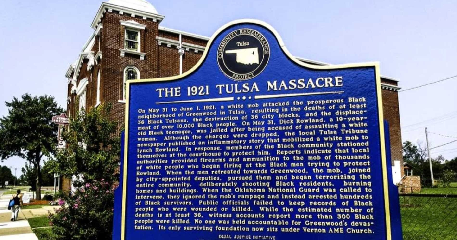 A historical marker outside Vernon AME Church about of the 1921 Tulsa Race Massacre. Photo courtesy of Tulsa2021.org