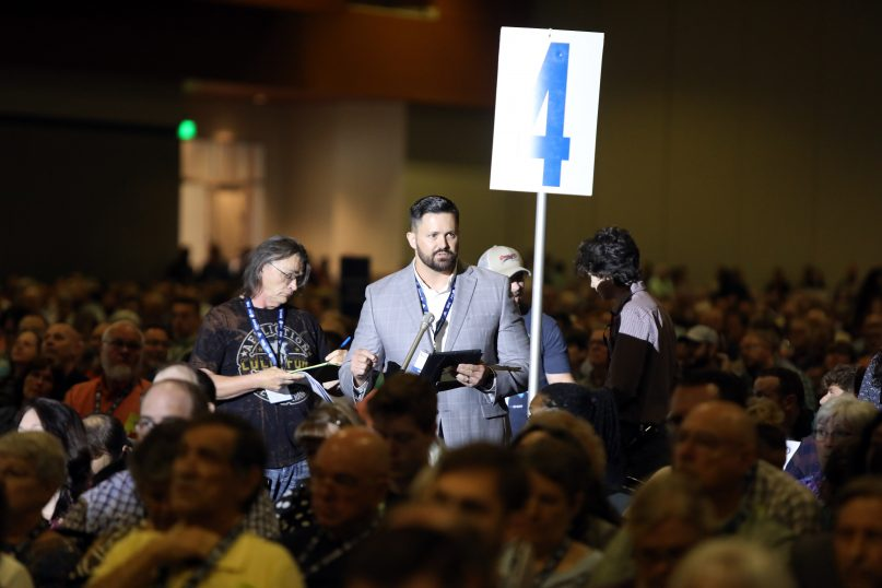 Tennessee pastor and messenger Grant Gaines talks about his proposed task force during the Southern Baptist Convention annual meeting June 16, 2021, in Nashville, Tennessee. RNS photo by Kit Doyle