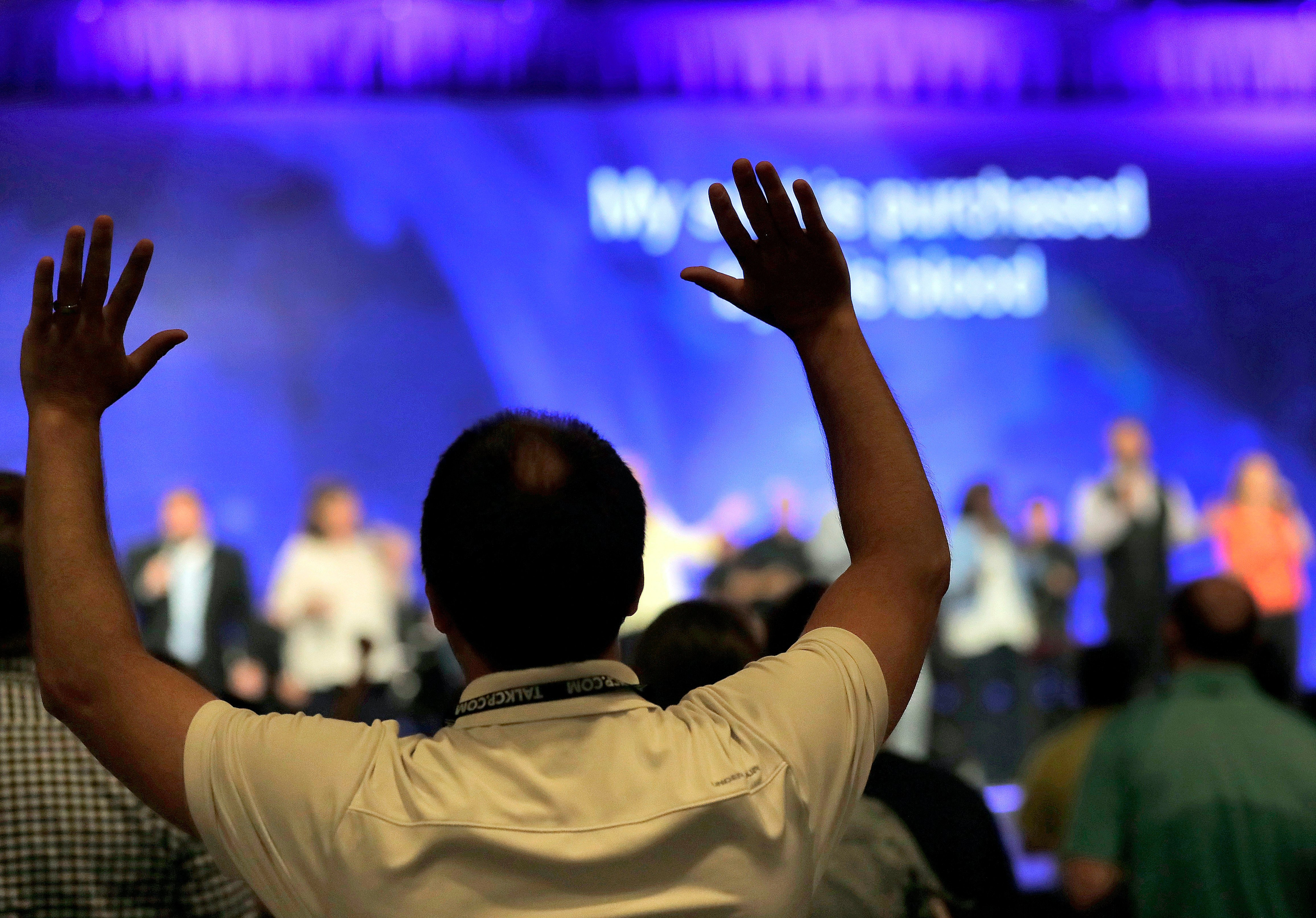 Raise your hands if you think this year's Southern Baptist Convention meeting could be feisty. (AP Photo/Matt York)