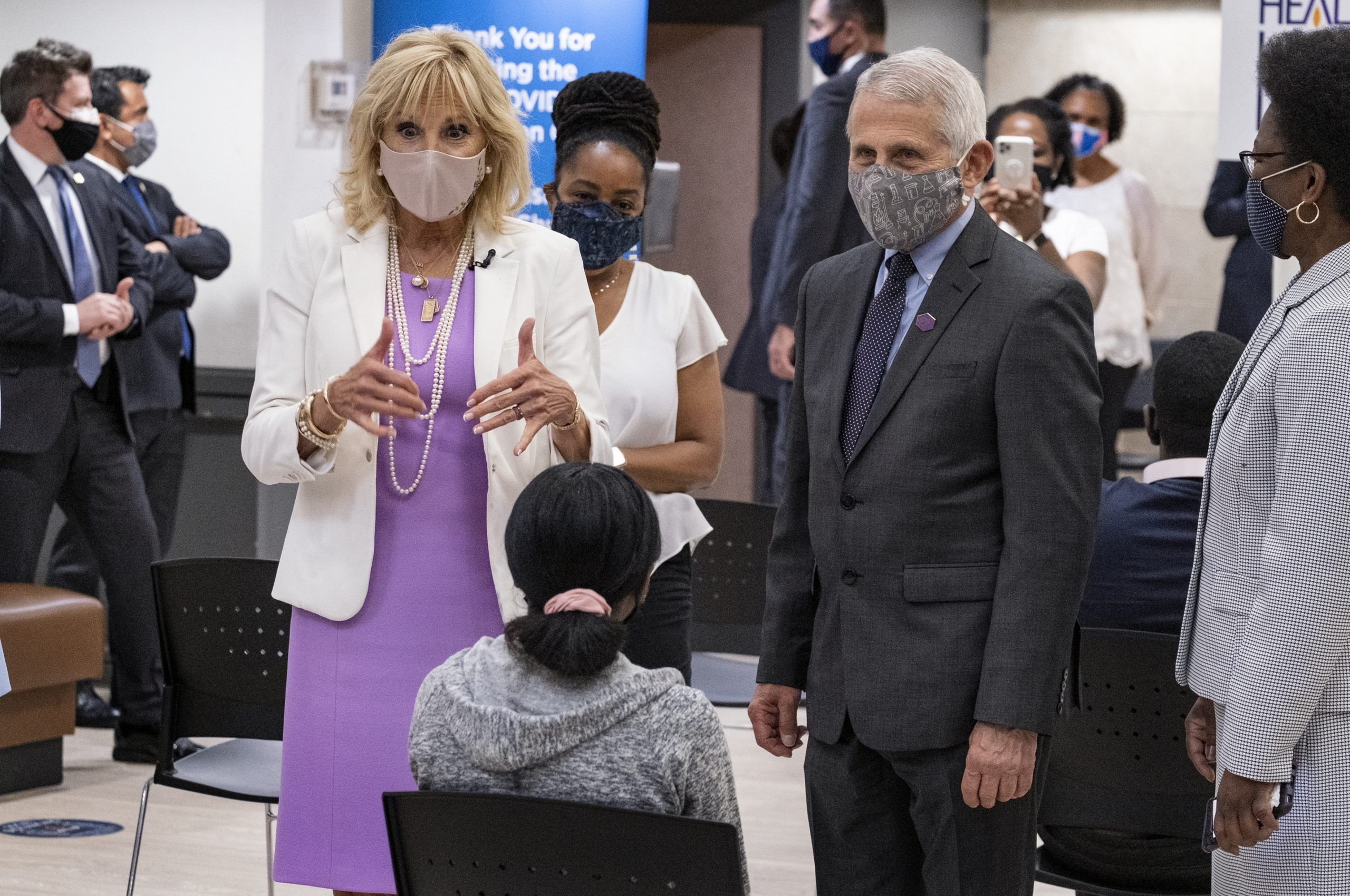 First lady Jill Biden, center left, and Dr. Anthony Fauci, director of the National Institute of Allergy and Infectious Diseases, visit a vaccine clinic at the Abyssinian Baptist Church in the Harlem neighborhood of New York Sunday, June 6, 2021. (AP Photo/Craig Ruttle)