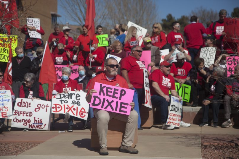 FILE - In this March 1, 2021, file photo, protestors and counter-protestors gather at the Dixie State University campus to express opinions on the potential name change of the university in St. George, Utah. A committee created to consider a name change for a university in Utah voted Monday, June 7, 2021, to choose a name that does not include Dixie — a regional term many consider offensive because of its association with the Deep South and slavery. (Chris Caldwell /The Spectrum via AP, File)