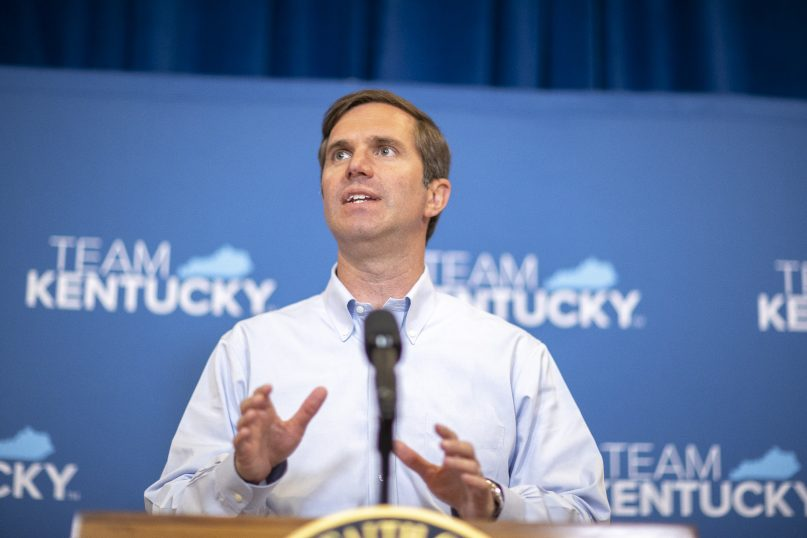 Kentucky Gov. Andy Beshear speaks during a news conference after the Kentucky Supreme Court heard oral arguments for two cases challenging the governor's ability to issue emergency declarations, Thursday, June 10, 2021 in Frankfort, Ky. (Ryan C. Hermens/Lexington Herald-Leader via AP, Pool)