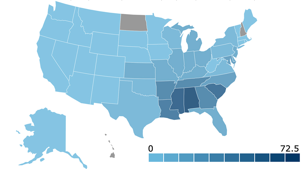 Black Protestant Denominations--Rates of Adherence per 1,000 Population (2010). Graphic courtest of ARDA