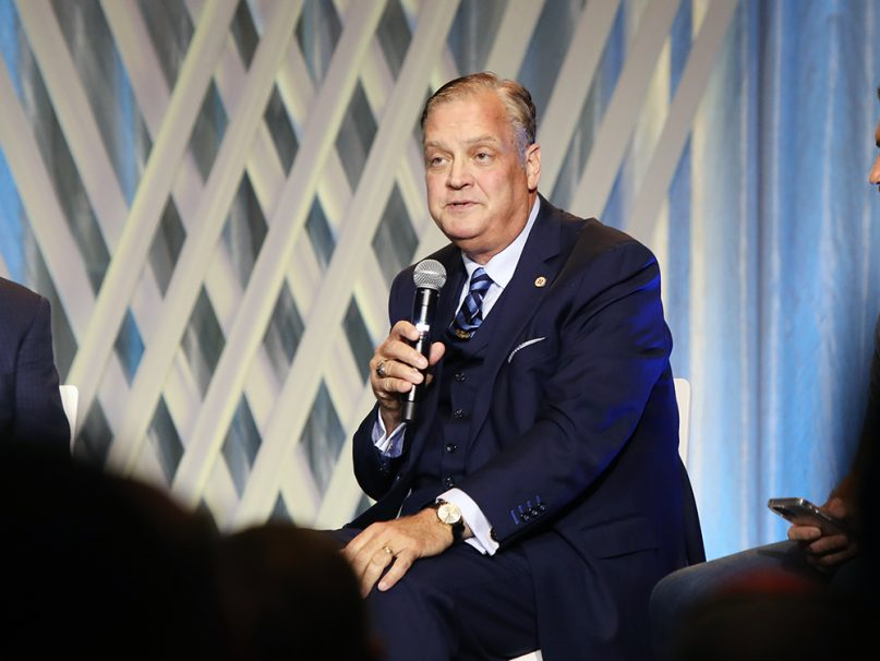 The Rev. R. Albert Mohler Jr. participates in a panel during the Southern Baptist Convention annual meeting, Tuesday, June 15, 2021, in Nashville. RNS photo by Kit Doyle