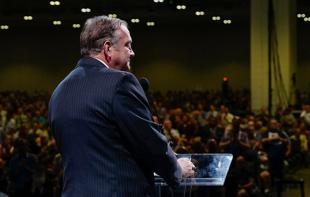 R. Albert Mohler Jr., president of Southern Baptist Theological Seminary, gives a report Wednesday, June 16, 2021, during the morning session of the Southern Baptist Convention annual meeting in Nashville, Tenn. Photo by Abbey Sprinkle/Baptist Press