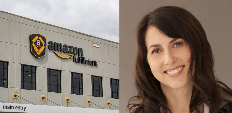 Left, Amazon fulfillment center in Shakopee, Minnesota and right, MacKenzie Scott. Photo by Tony Webster/Creative Commons, and courtesy of Scott's website