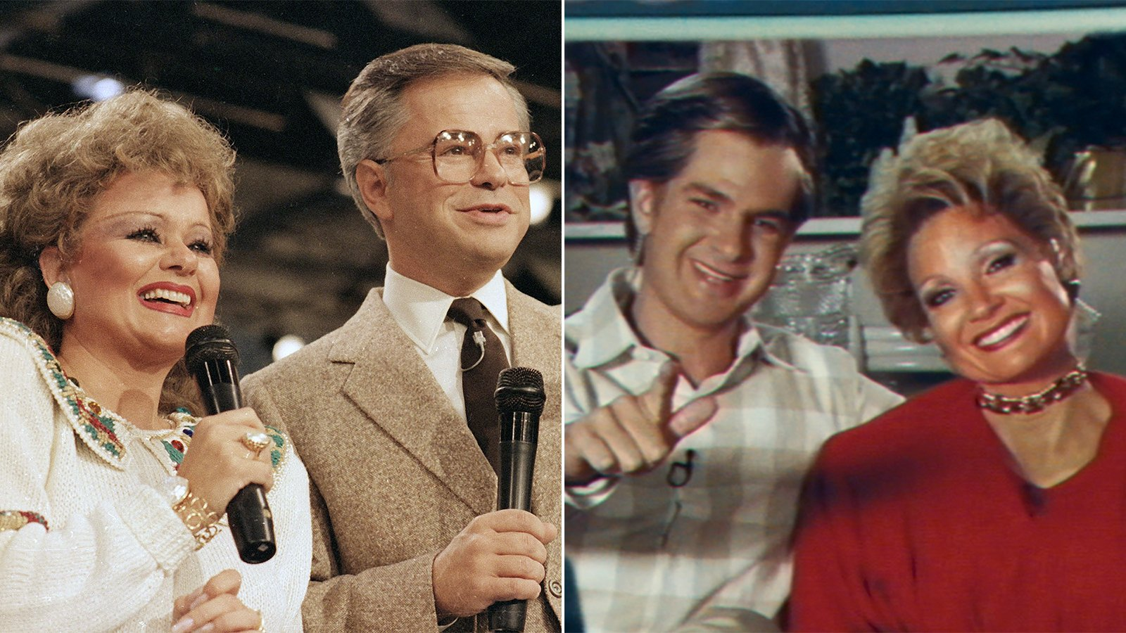 """Jim and Tammy Faye Bakker, left, in Aug 1986. Actors Andrew Garfield and Jessica Chastain as the famous televangelist couple in the upcoming biopic, """"The Eyes of Tammy Faye."""" (AP Photo/Lou Krasky, left; Photo courtesy Searchlight Pictures)"""