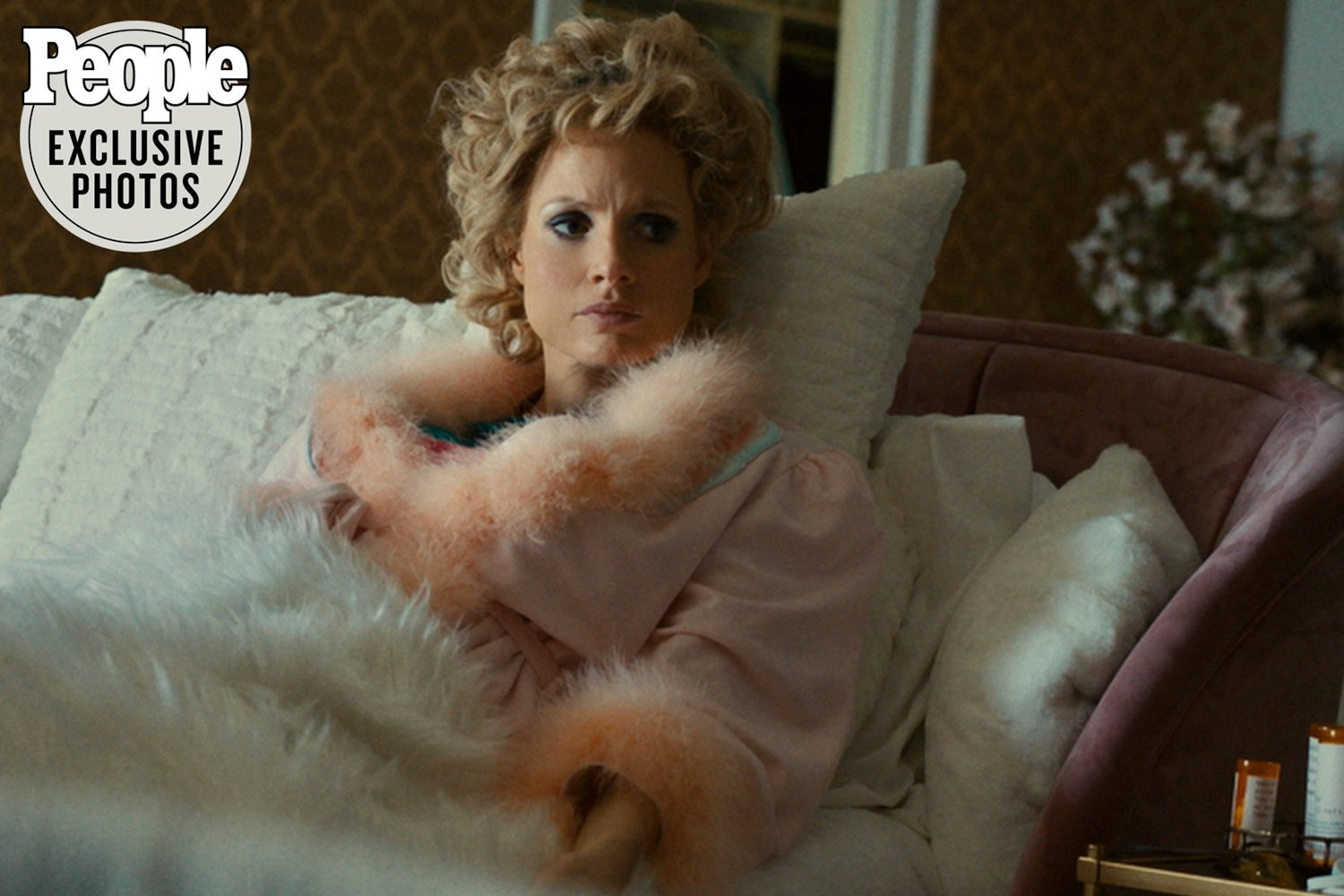 """Actor Jessica Chastain portrays Tammy Faye Bakker in the upcoming biopic, """"The Eyes of Tammy Faye."""" Photo first appeared in People. Photo courtesy Searchlight Pictures"""