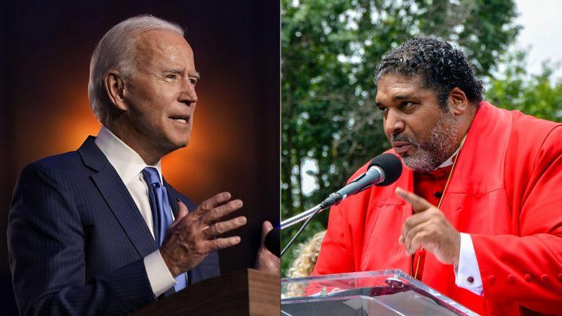 President Joe Biden, left, and the Rev. William Barber. (Left, AP Photo/Carolyn Kaster. Right, RNS Photo/Jack Jenkins)