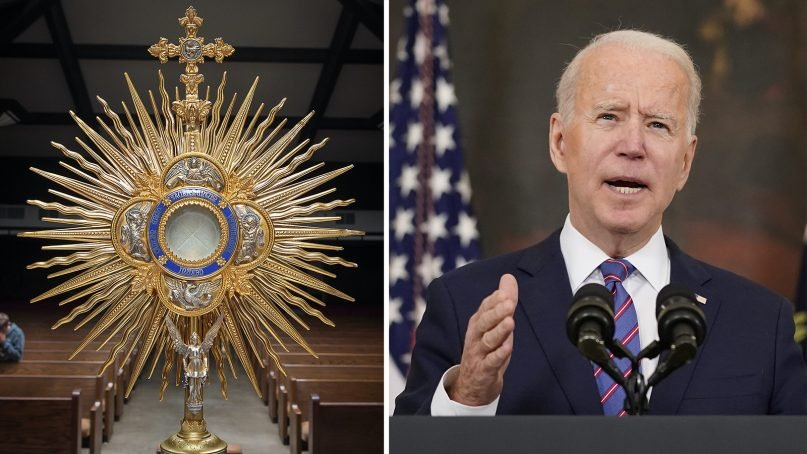 Holy Communion, left, and President Joe Biden have been a regular issue during Biden's presidency.  (Left: Unsplash/Creative Commons; Right: AP Photo/Andrew Harnik)