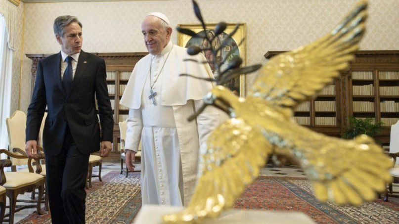 Pope Francis talks with U.S. Secretary of State Antony Blinken as they meet at the Vatican, Monday, June 28, 2021. Photo courtesy of Vatican Media