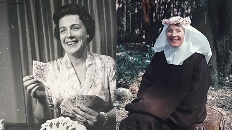 Socialite Ann Russell Miller, left, became Sister Mary Joseph, right, after joining a Carmelite monastery in Des Plaines, Illinois. Miller died June 5, 2021, at the age of 92. Photos courtesy of Mark Miller