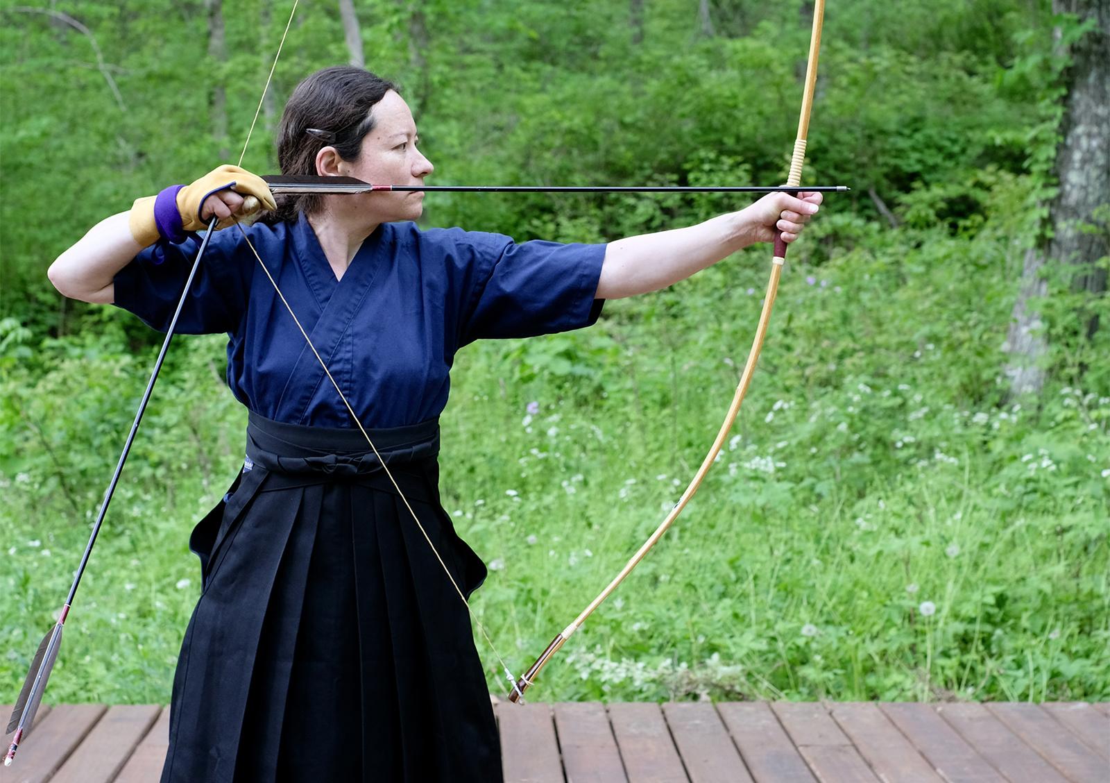 An individual practices archery at Chosei Zen dojo in Madison, Wisconsin. Photo courtesy of Anita Taylor/Chosei Zen