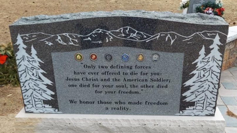 A memorial plaque honoring veterans has become controversial in Monument, Colorado. Photo courtesy of Military Religious Freedom Foundation