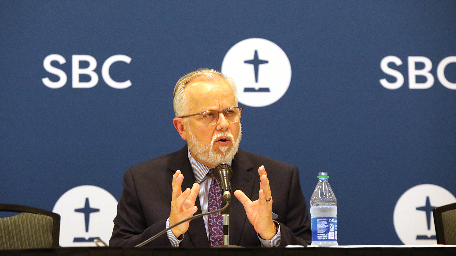 The Rev. Ed Litton speaks during a news conference following his election as the next president of the Southern Baptist Convention, during their annual meeting, Tuesday, June 15, 2021, in Nashville. RNS photo by Kit Doyle