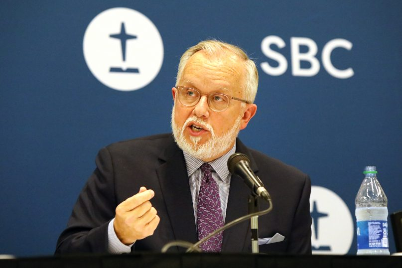 The Rev. Ed Litton speaks during a news conference after his election as the next president of the Southern Baptist Convention, June 15, 2021, in Nashville, Tennessee. RNS photo by Kit Doyle