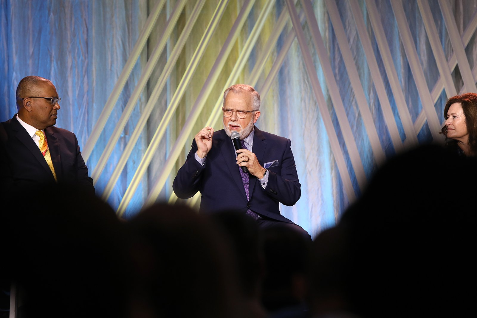 The Rev. Ed Litton, center, participates in a panel during the Southern Baptist Convention annual meeting, Tuesday, June 15, 2021, in Nashville. RNS photo by Kit Doyle