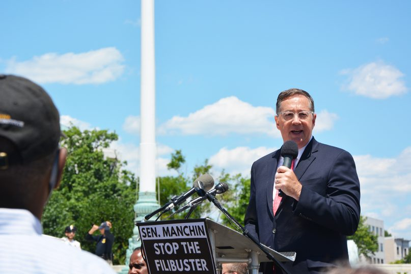 Jim Winkle, president and general secretary of the National Council of Churches, speaks as a part of the filibuster protest on Wednesday afternoon, June 23, 2021 in front of the Supreme Court Building. RNS photo by Jack Jenkins