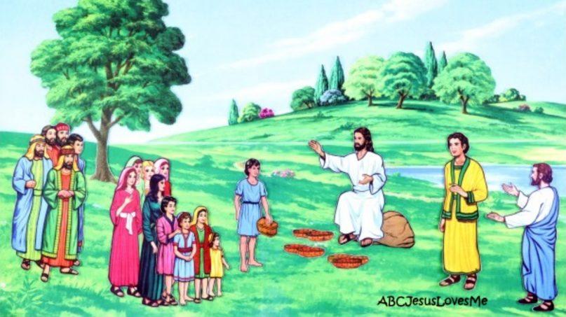 A flannelgraph of Jesus feeding the multitude. Photo via ABCJesusLovesMe