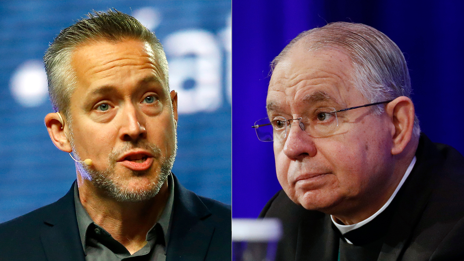 Outgoing Southern Baptist Convention President J.D. Greear, left, and USCCB President Archbishop Jose Gomez. (RNS Photo, left. AP Photo, right)
