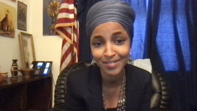 U.S. Rep. Ilhan Omar addresses a virtual panel ahead of World Refugee Day hosted by Lutheran Immigration and Refugee Service on June 17, 2021. Video screen grab