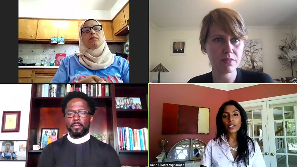 A virtual panel ahead of World Refugee Day hosted by Lutheran Immigration and Refugee Service, Thursday, June 17, 2021. Participants include Lubab Al-Quraishi, clockwise from top left, Susannah Cunningham, Krish O'Mara Vignarajah and the Rev. Emmanuel Jackson. Video screengrab
