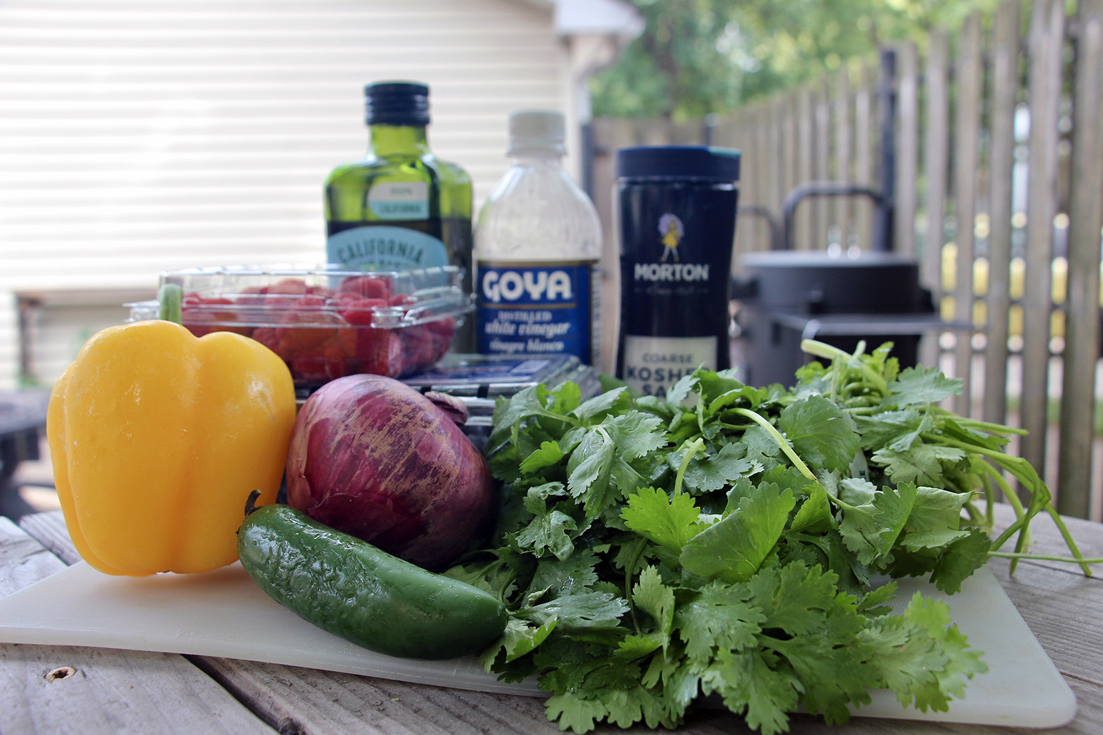 """Ingredients for Spicy Berry Salsa from""""The Magick of Food""""by Gwion Raven. RNS photo and staging by Emily McFarlan Miller"""