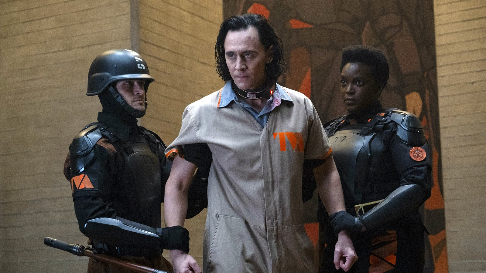 """Tom Hiddleston, center, stars in the title role of the new Disney + series, """"Loki."""" Photo by Chuck Zlotnick/Marvel Studios"""