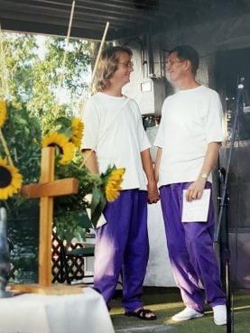 The holy union ceremony of Brad Mulholland, left, and Mark Vickers Community of Hope in Tulsa, Oklahoma. Photo courtesy of Leslie Penrose