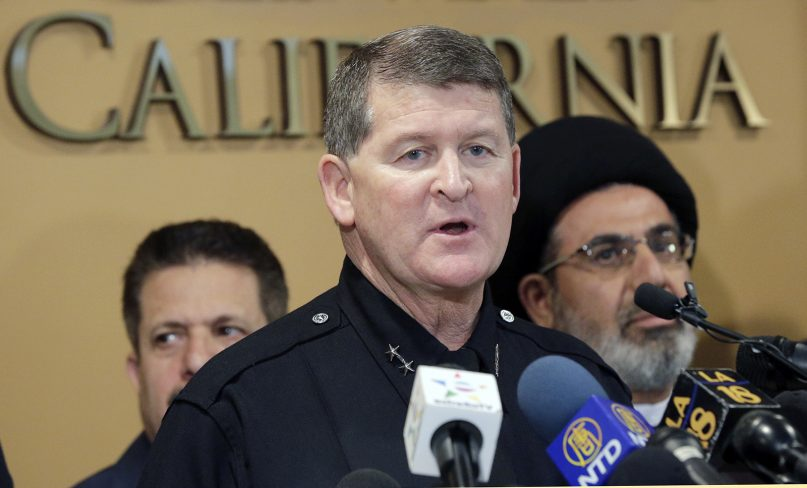 Los Angeles Police Deputy Chief Michael Downing speaks during a news conference at the Islamic Center of Southern California in Los Angeles, Monday, Nov. 28, 2016. Government officials have condemned a hate-filled letter received by several California mosques that said Muslims would be exterminated by President-elect Donald Trump.  (AP Photo/Nick Ut)