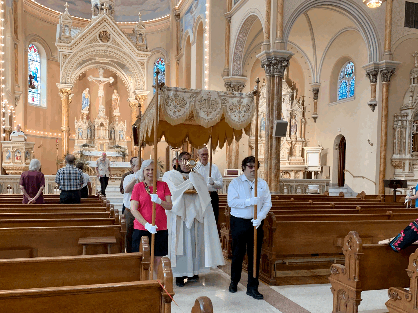 The beginning of the Corpus Christi Procession at St. Anthony Church in St. Louis, Missouri, June 7, 2021. The 140-year-old traditional procession is led by a band. Photo by Barb Gilman