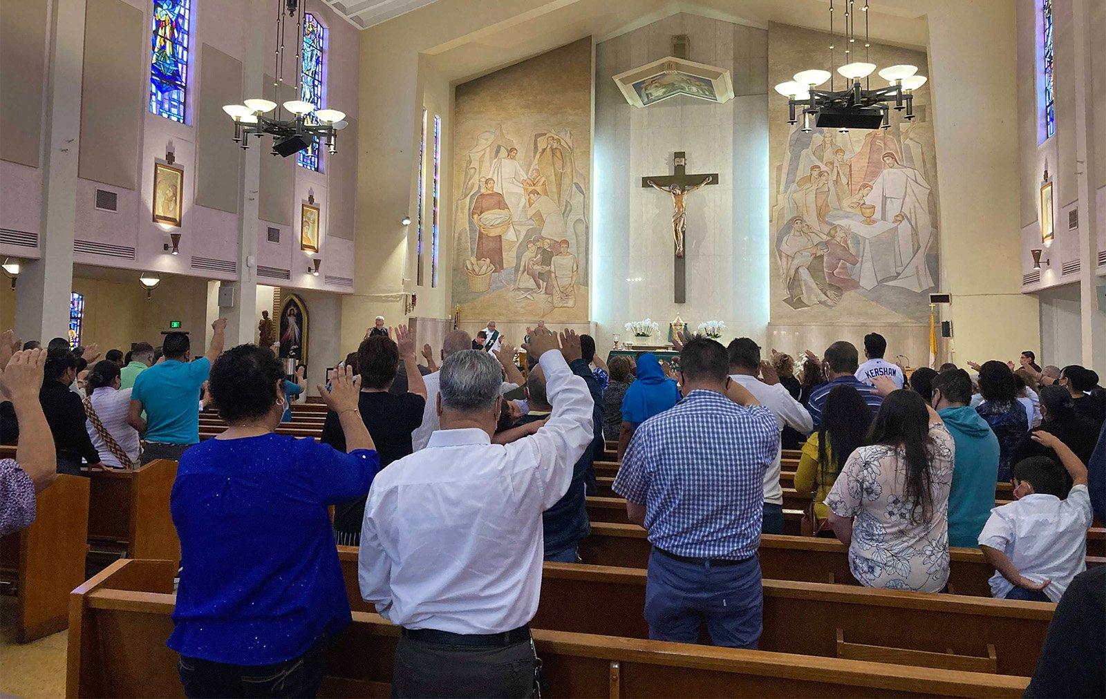 St. Anthony Catholic Church parishioners send birthday blessings for Father Matt Wheeler, Sunday, June 20, 2021, in San Gabriel, California. RNS phot by Alejandra Molina