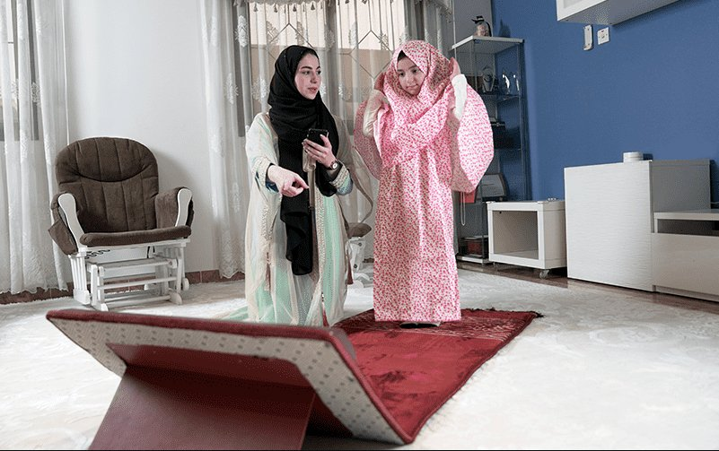 """An demonstration of the """"Sajdah"""" e-rug that is being developed. Image courtesy of Thakaa Technologies"""