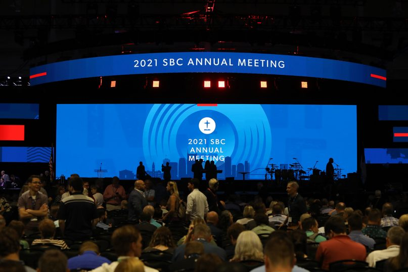 People wander and find their seats as they wait for the SBC annual meeting at the Music City Center in Nashville, Tennessee, to begin on June 15, 2021. RNS photo by Kit Doyle