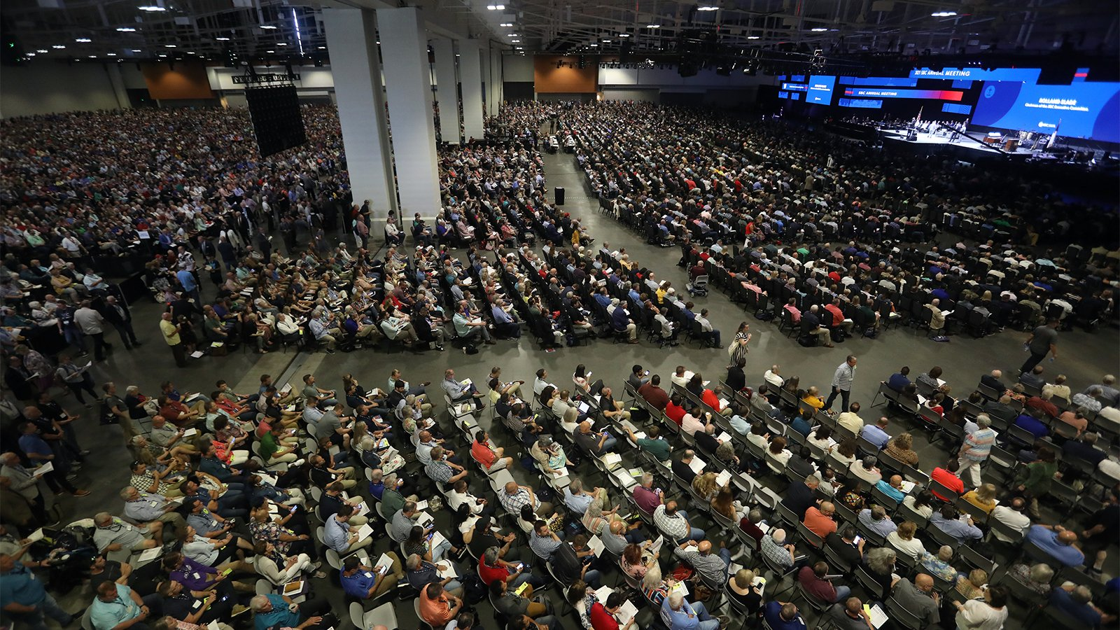 More than 14,000 messengers registered and gathered for the Southern Baptist Convention annual meeting, which opened June 15, 2021, at the Music City Center in Nashville, Tennessee. RNS photo by Kit Doyle