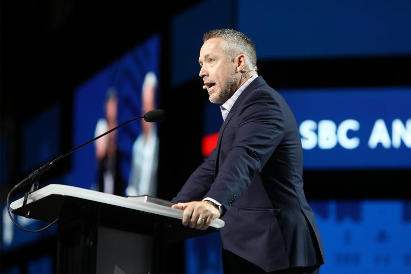 Southern Baptist Convention President J.D. Greear addresses the annual meeting at the Music City Center, June 15, 2021, in Nashville, Tennessee. RNS photo by Kit Doyle
