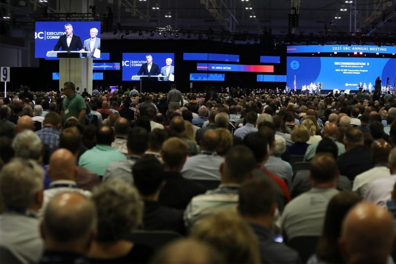 Southern Baptist Convention President J.D. Greear addresses the annual meeting at the Music City Center, Tuesday, June 15, 2021, in Nashville. RNS photo by Kit Doyle