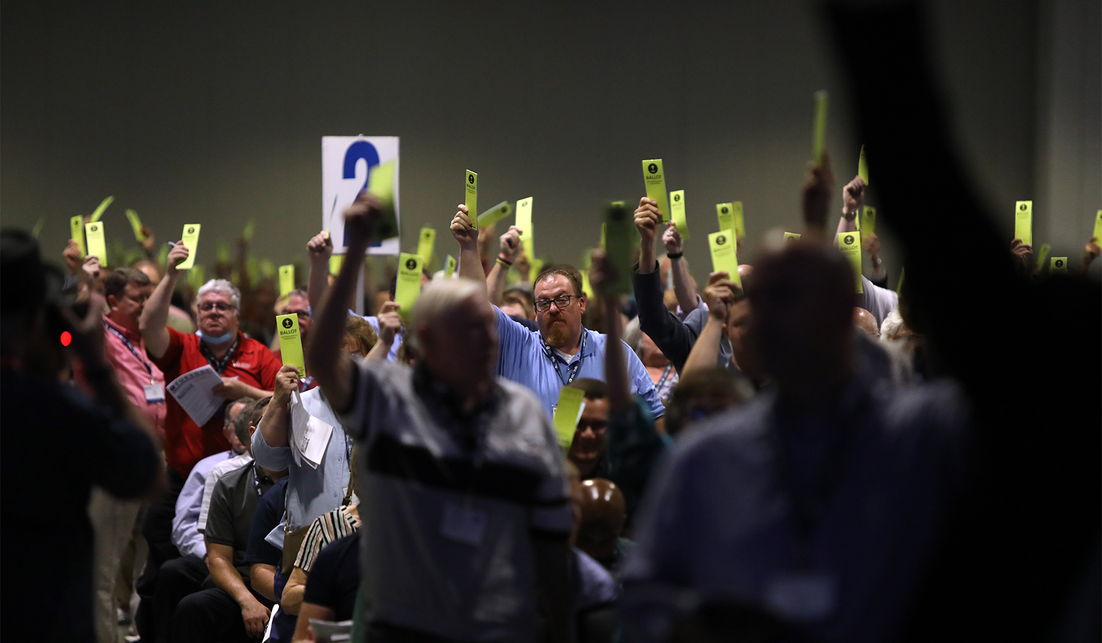 Messengers vote during the Southern Baptist Convention annual meeting at Music City Center, Tuesday, June 15, 2021, in Nashville. RNS photo by Kit Doyle