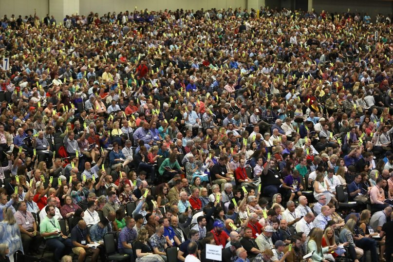 Southern Baptist Convention messengers attend the annual meeting June 15, 2021, at the Music City Center in Nashville, Tennessee. RNS photo by Kit Doyle