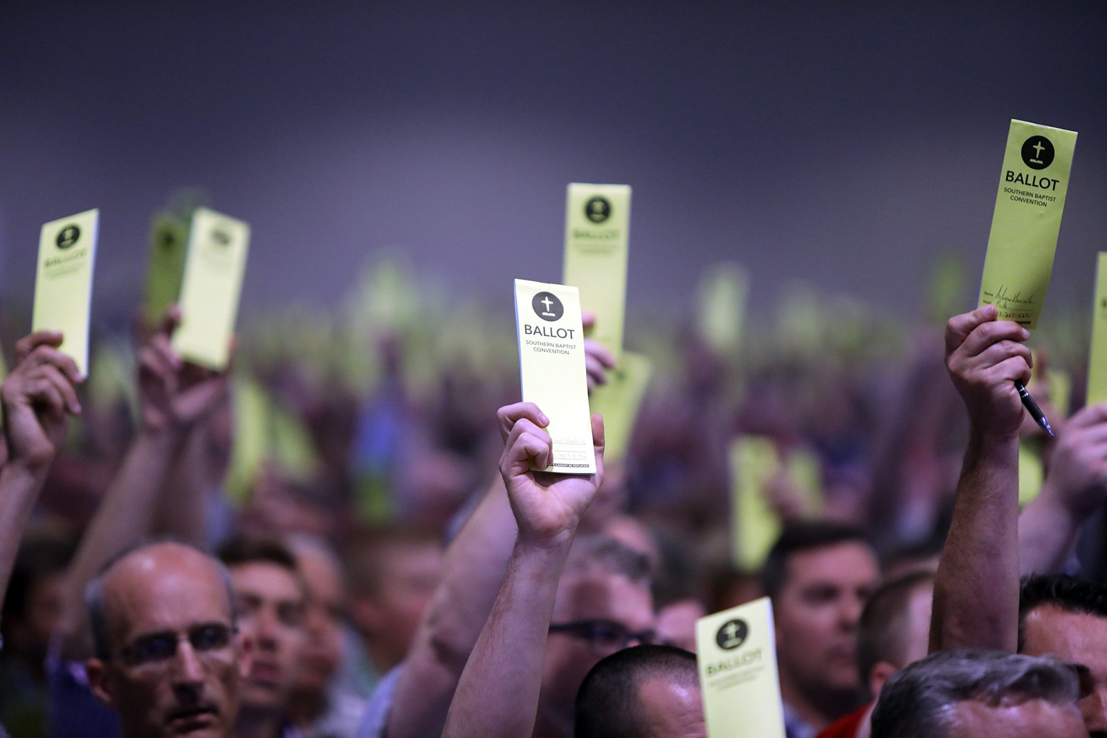 Messengers vote during the annual meeting of the Southern Baptist Convention, Tuesday, June 15, 2021, at the Music City Center in Nashville. RNS photo by Kit Doyle