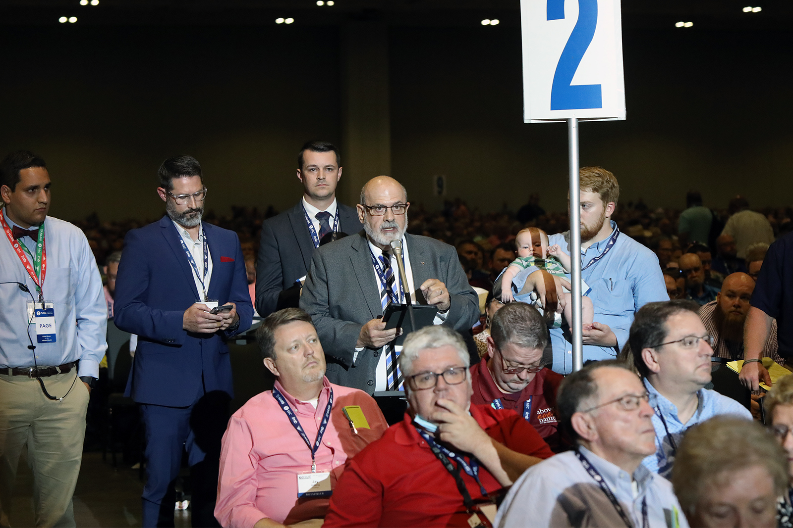 Messenger Bill Ascol, of Oklahoma, at microphone, addresses the Southern Baptist Convention annual meeting Tuesday afternoon, June 15, 2021, in Nasvhille. RNS photo by Kit Doyle
