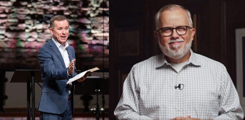 Left, Pastor Mike Stone, and right, Ed Litton. Photo by Brauda Studios, courtesy of Mike Stone and Litton from a video screengrab
